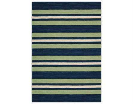 Nourison Bbl2 Oxford Modern Blue Hand Made Wool Stripes 3'6'' x 5'6'' Area Rug - 99446169679