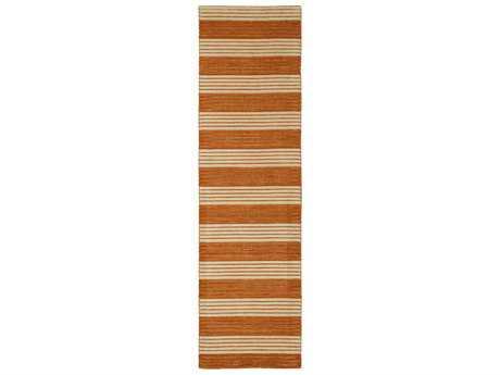 Nourison Bbl1 Ripple Modern Orange Hand Made Wool Stripes 2'3'' x 8'0'' Area Rug - 99446202017