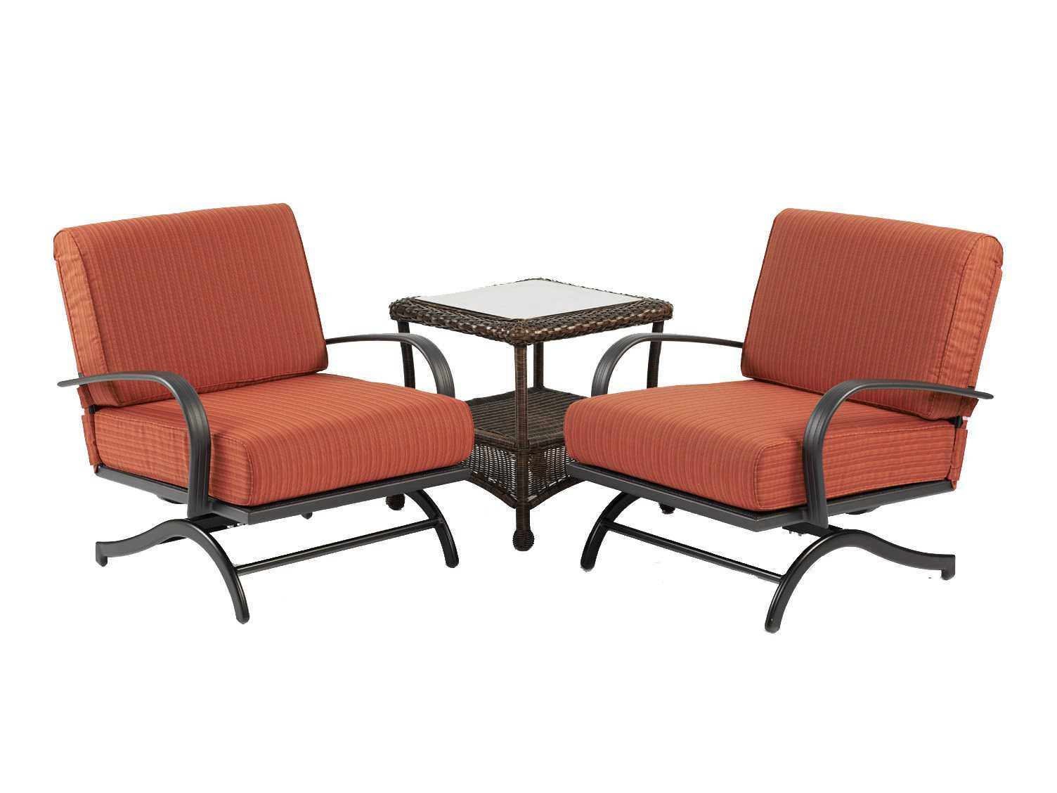 Outdoor GreatRoom Chat Aluminum Papaya Rocking Lounge Chair Set of 2