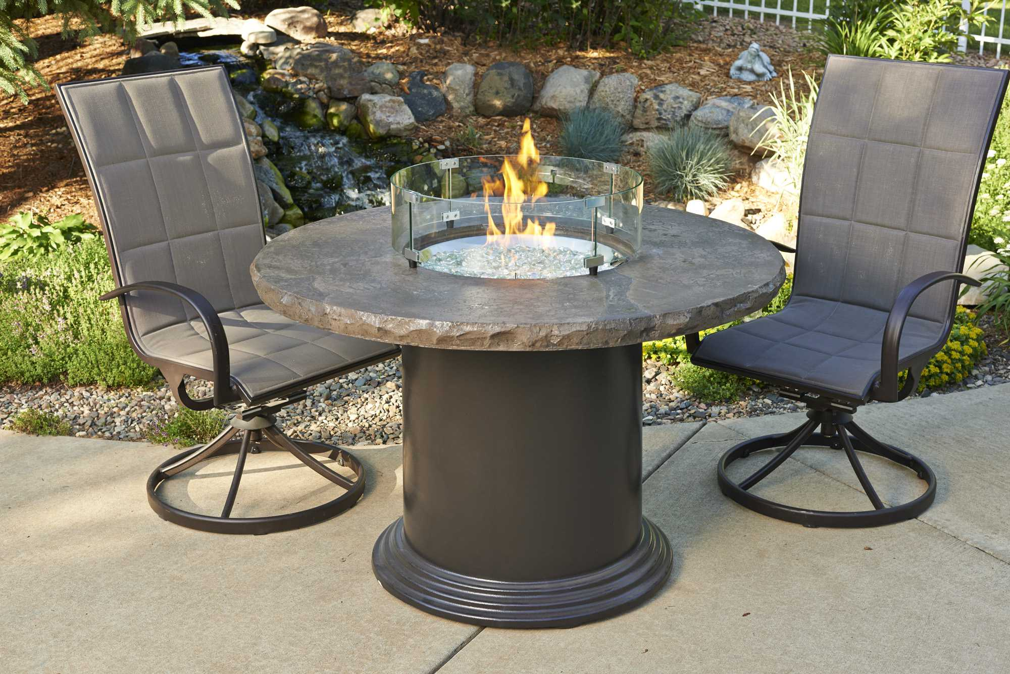 outdoor greatroom colonial fiberglass 48 round fire pit chat table with marbleized noche top. Black Bedroom Furniture Sets. Home Design Ideas