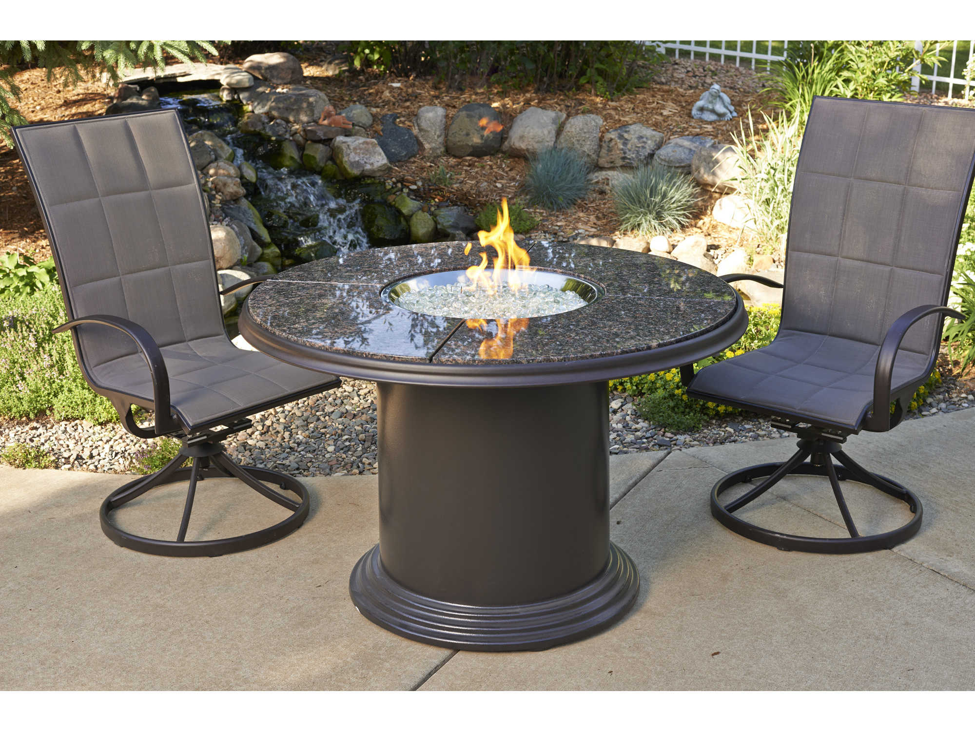 outdoor greatroom colonial fiberglass 48 round crystal fire pit dining table with british. Black Bedroom Furniture Sets. Home Design Ideas