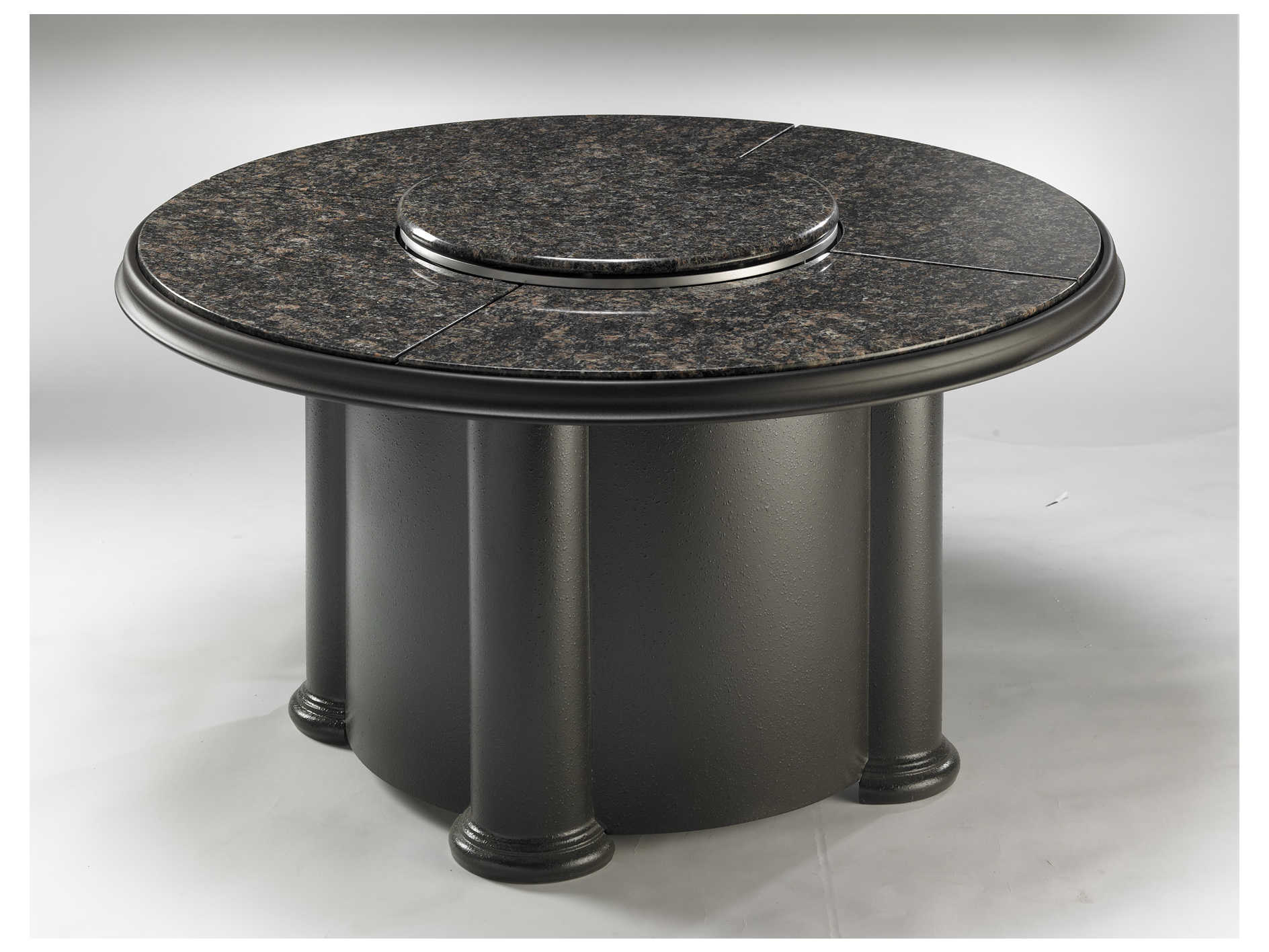 Outdoor Greatroom Chat Fiberglass 48 Round Crystal Coffee Fire Pit Table With British Granite