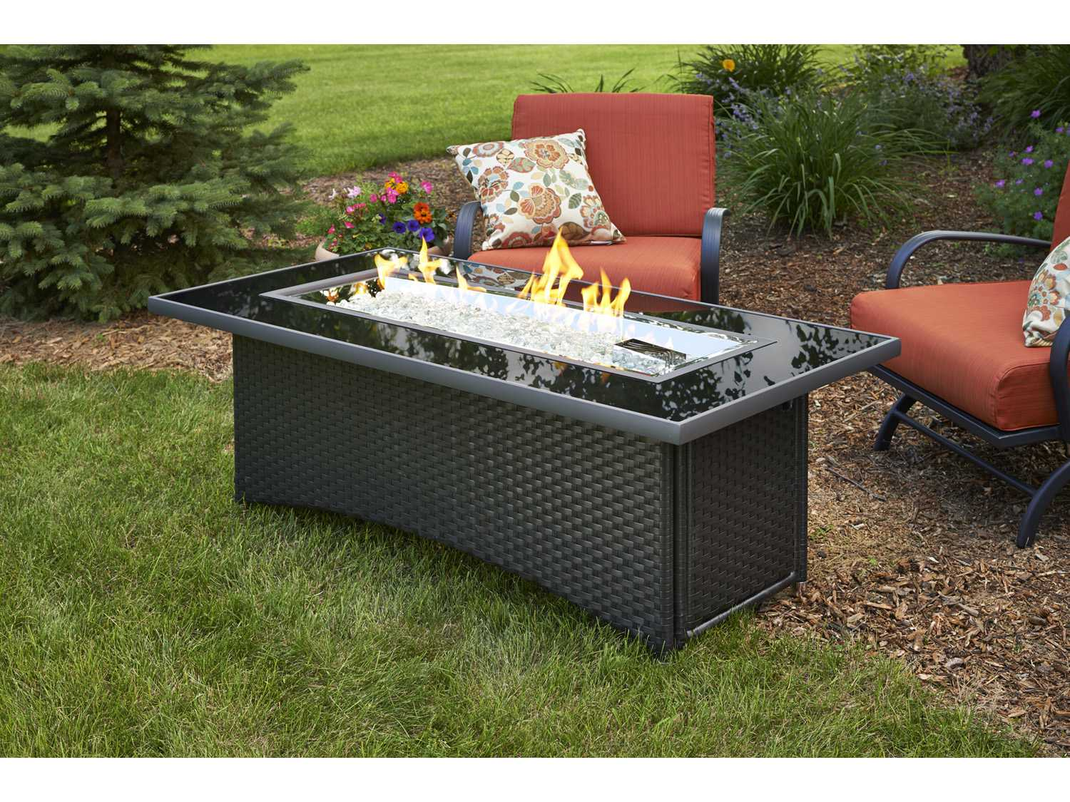 Outdoor Greatroom Montego X 30 Rectangular Crystal Fire Pit Coffee Table With Black Wicker