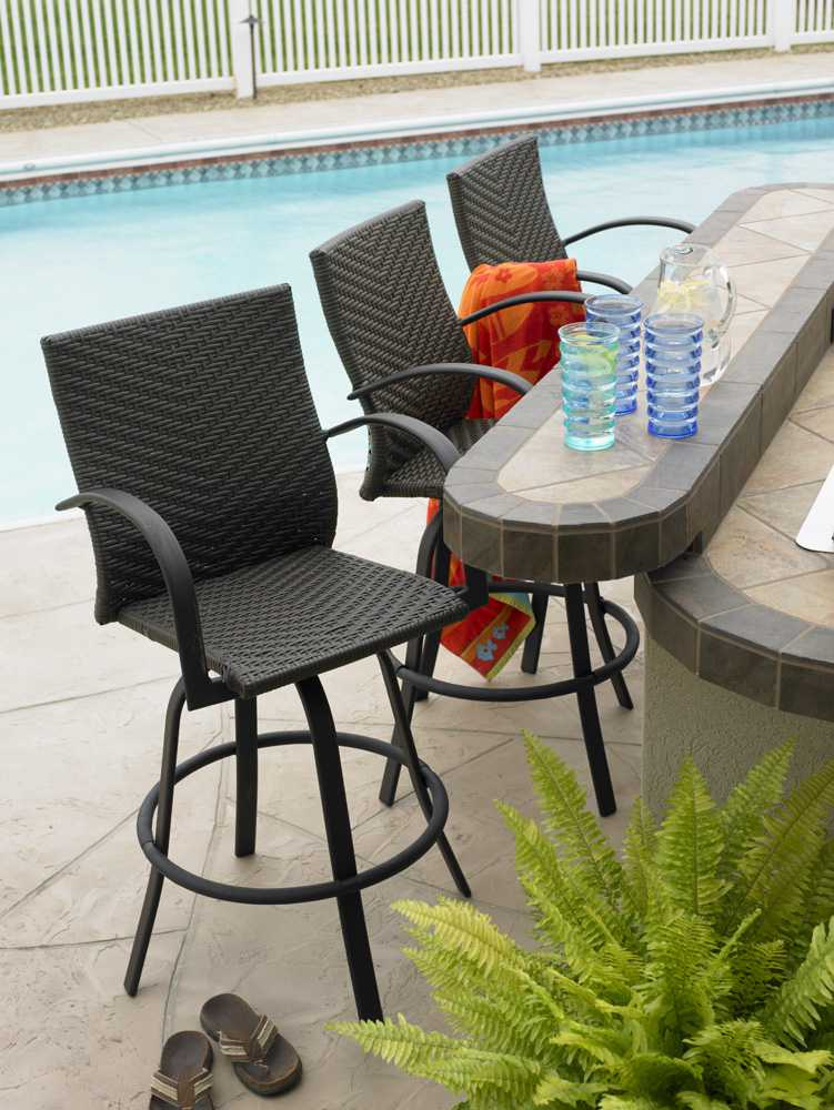 Outdoor GreatRoom Naples Wicker Swivel Bar Stool Set of 2
