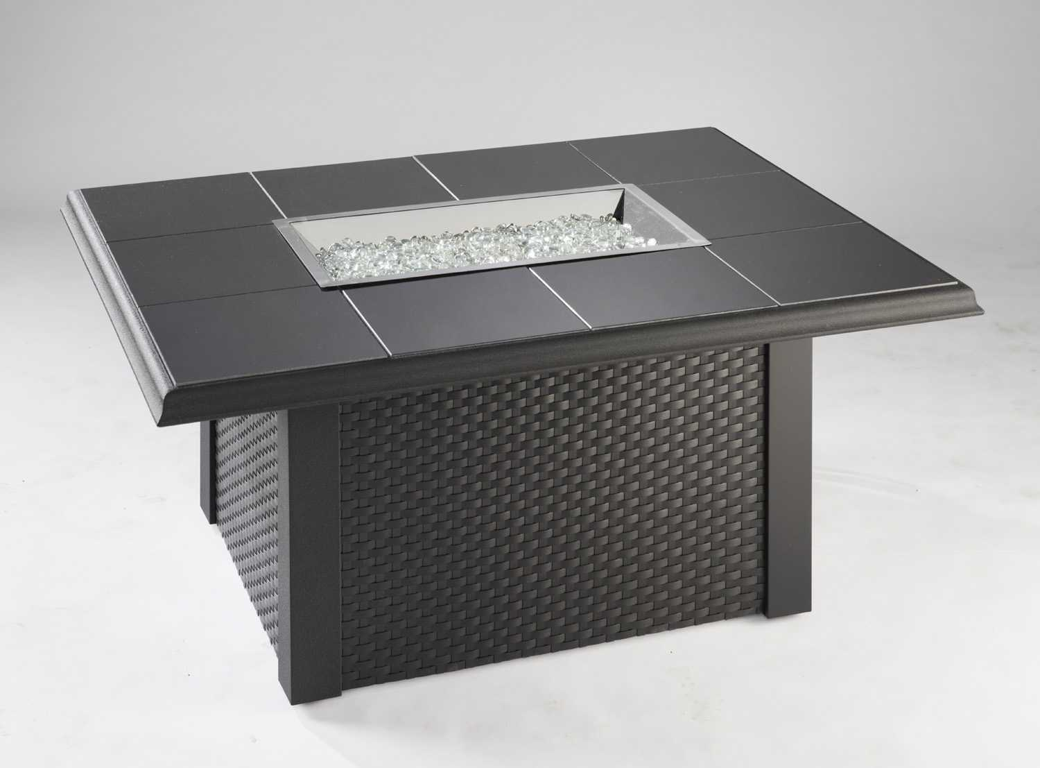 Outdoor Greatroom Napa Valley 50 X 38 Rectangular Crystal Fire Pit Table With Black