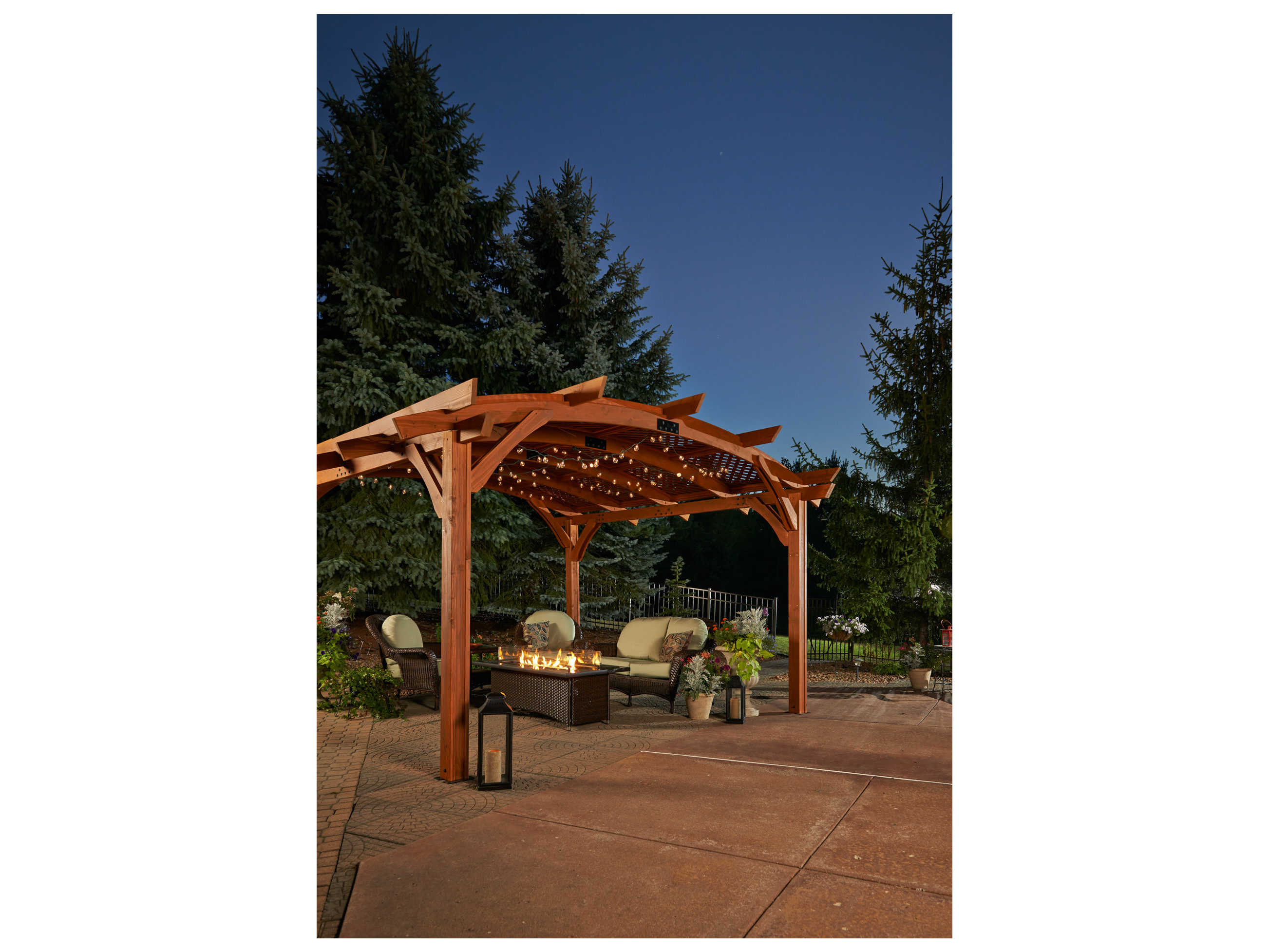 Outdoor Greatroom Sonoma Wood 16 Ft Redwood Arched Pergola
