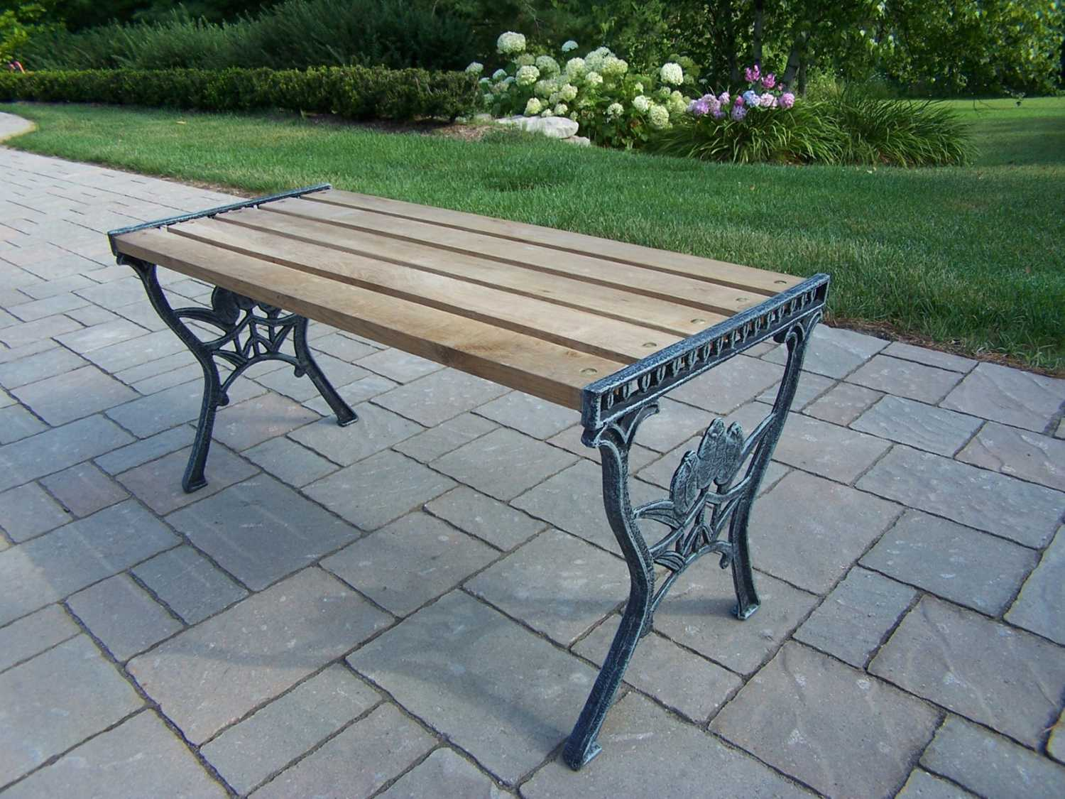 Oakland living cast iron 37 x 15 rectangular wooden tulip for Cast iron outdoor coffee table