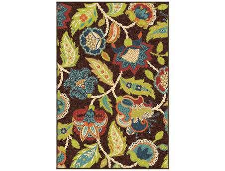Orian Veranda Transitional Brown Machine Made Synthetic Floral/Botanical 3'10