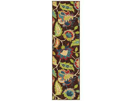 Orian Veranda Transitional Brown Machine Made Synthetic Floral/Botanical Area Rug - 2314-RUN