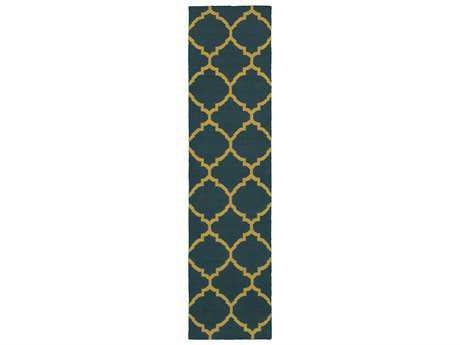 Oriental Weavers Pantone Universe Matrix Modern Blue Hand Made Wool Moroccan Area Rug- 4280I-RUN
