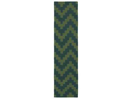 Oriental Weavers Pantone Universe Matrix Modern Green Hand Made Wool Chevron Area Rug- 4714L-RUN