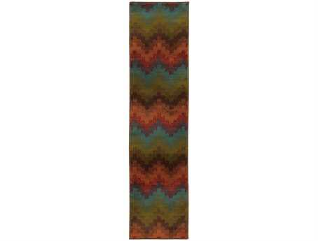 Oriental Weavers Emerson Transitional Orange Machine Made Synthetic Abstract Area Rug- 4876B-RUN