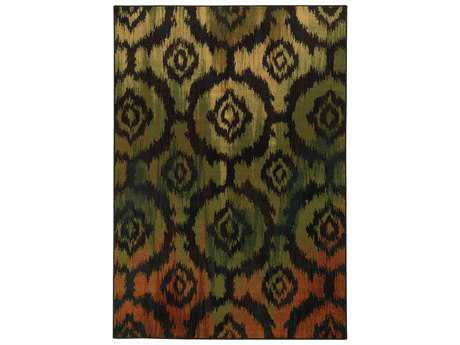 Oriental Weavers Parker Transitional Black Machine Made Synthetic Southwestern 1'10