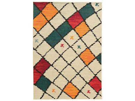 Oriental Weavers Nomad Modern Beige Machine Made Synthetic Geometric 4' X 5'9