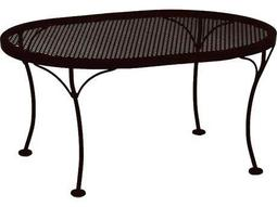 OW Lee Mesh Wrought Iron 24 x 34 Oval Coffee Table
