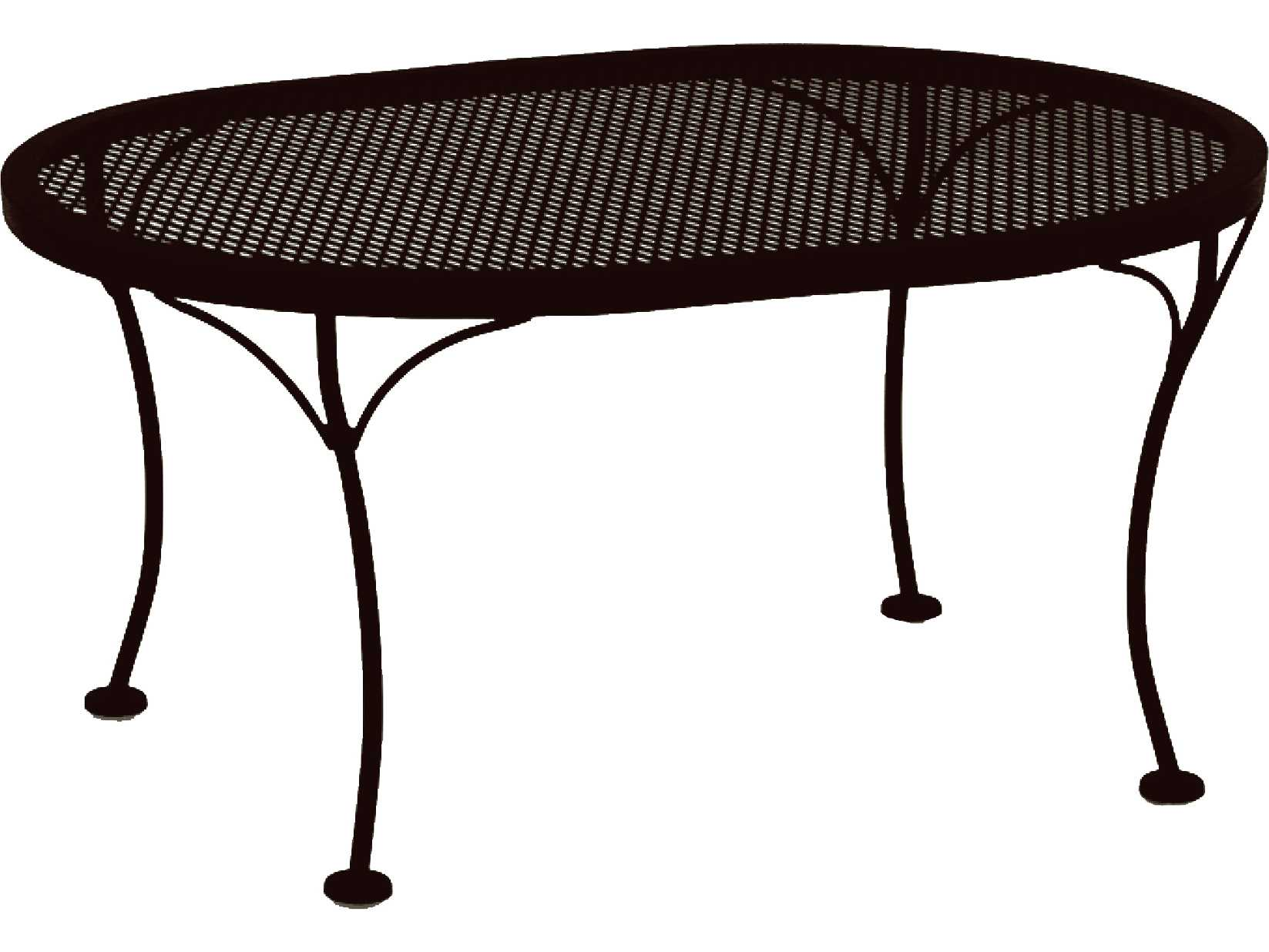 Ow lee mesh wrought iron 34 x 24 oval coffee table 2434 ovmot Patio coffee tables