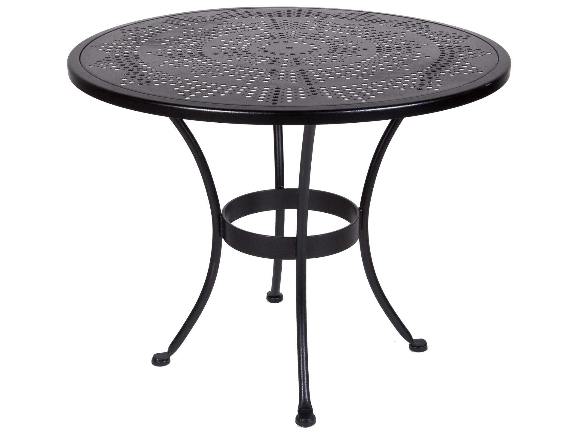 Bistro wrought iron stamped 36 round table with umbrella hole 36 su