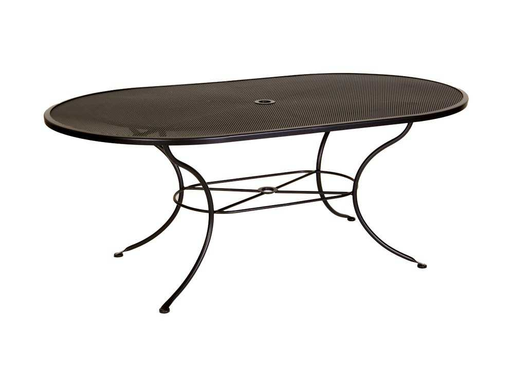Ow Lee Micro Mesh Wrought Iron 72 X 42 Oval Dining Table With Umbrella Hole 4272 Ovmmu
