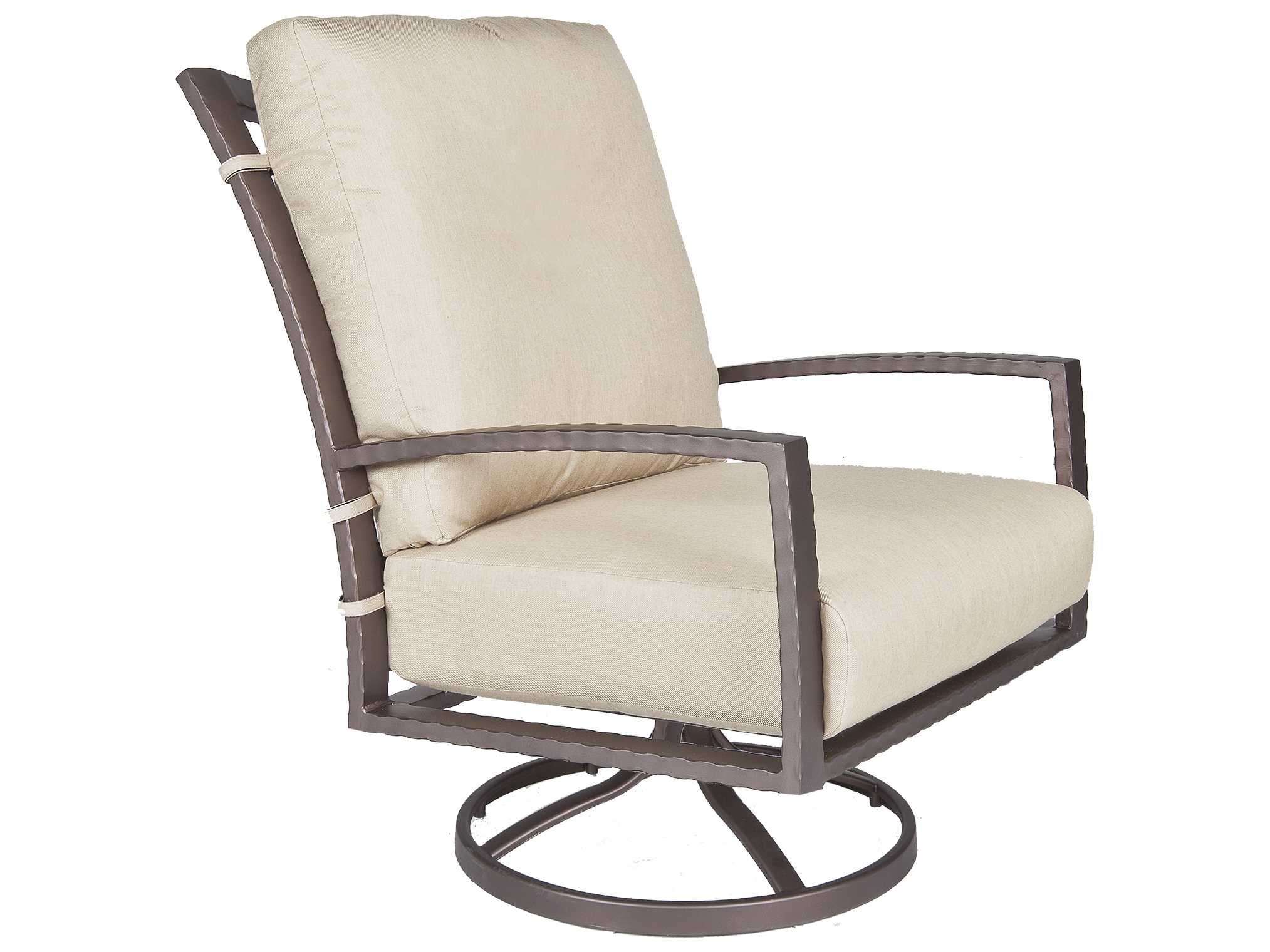 OW Lee Sol Wrought Iron Swivel Rocker Lounge Chair