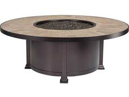 OW Lee Casual Fireside Santorini Wrought Iron 54 Round Occasional Height Fire Pit Table