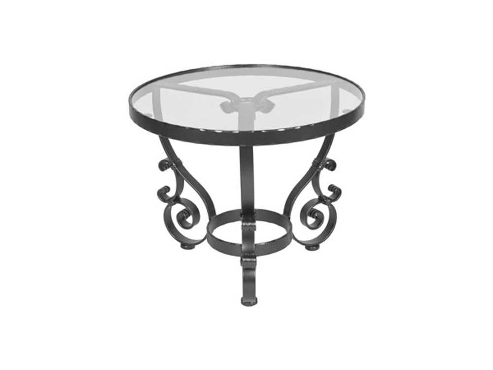 OW Lee San Cristobal Wrought Iron 24 Round Glass End Table