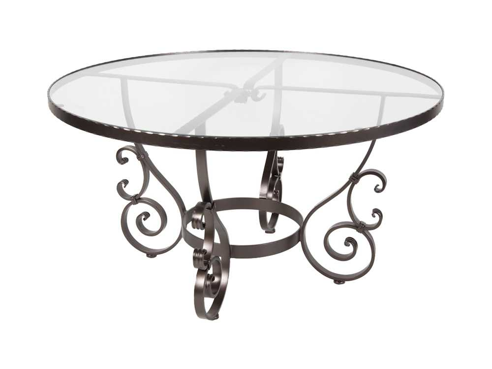 OW Lee San Cristobal Wrought Iron 54 Round Glass Dining Table  6-54G