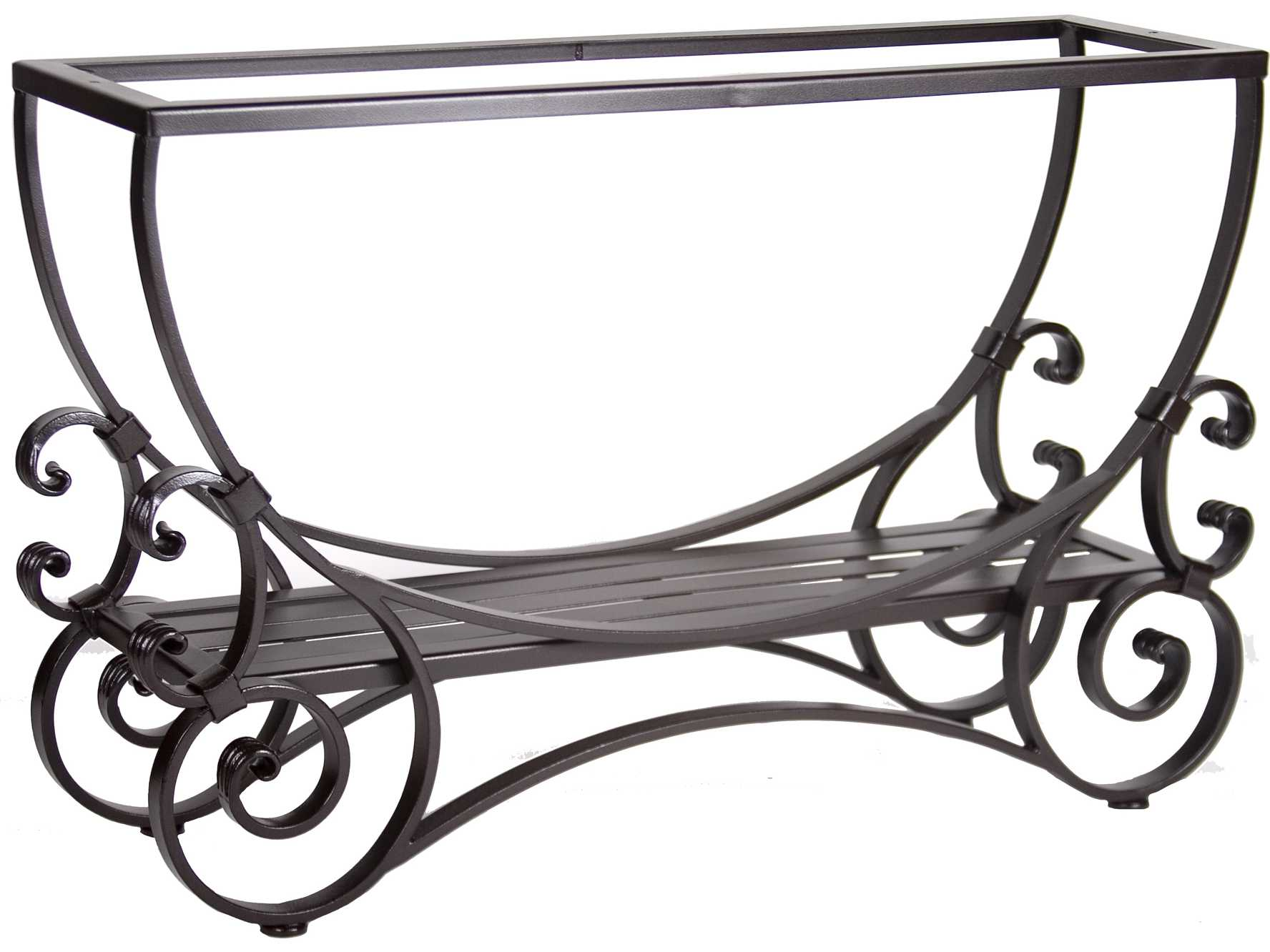 Ow lee san cristobal wrought iron 46 x 14 rectangular for Outdoor table bases wrought iron