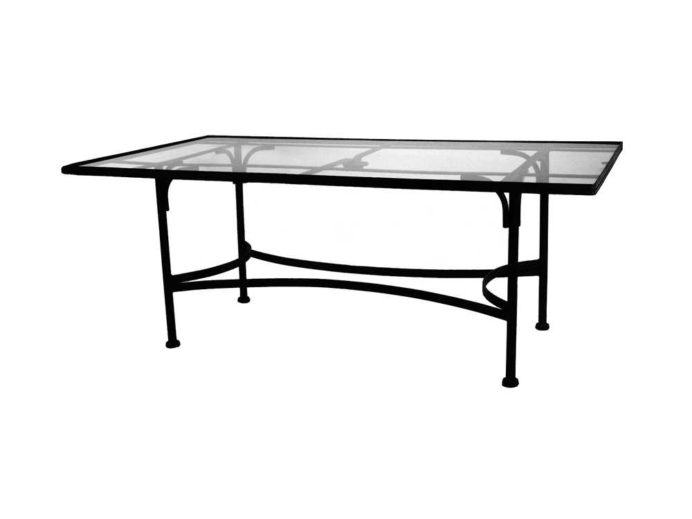Wrought Iron 84 X 44 Rectangular Tempered Glass Top Dining Table