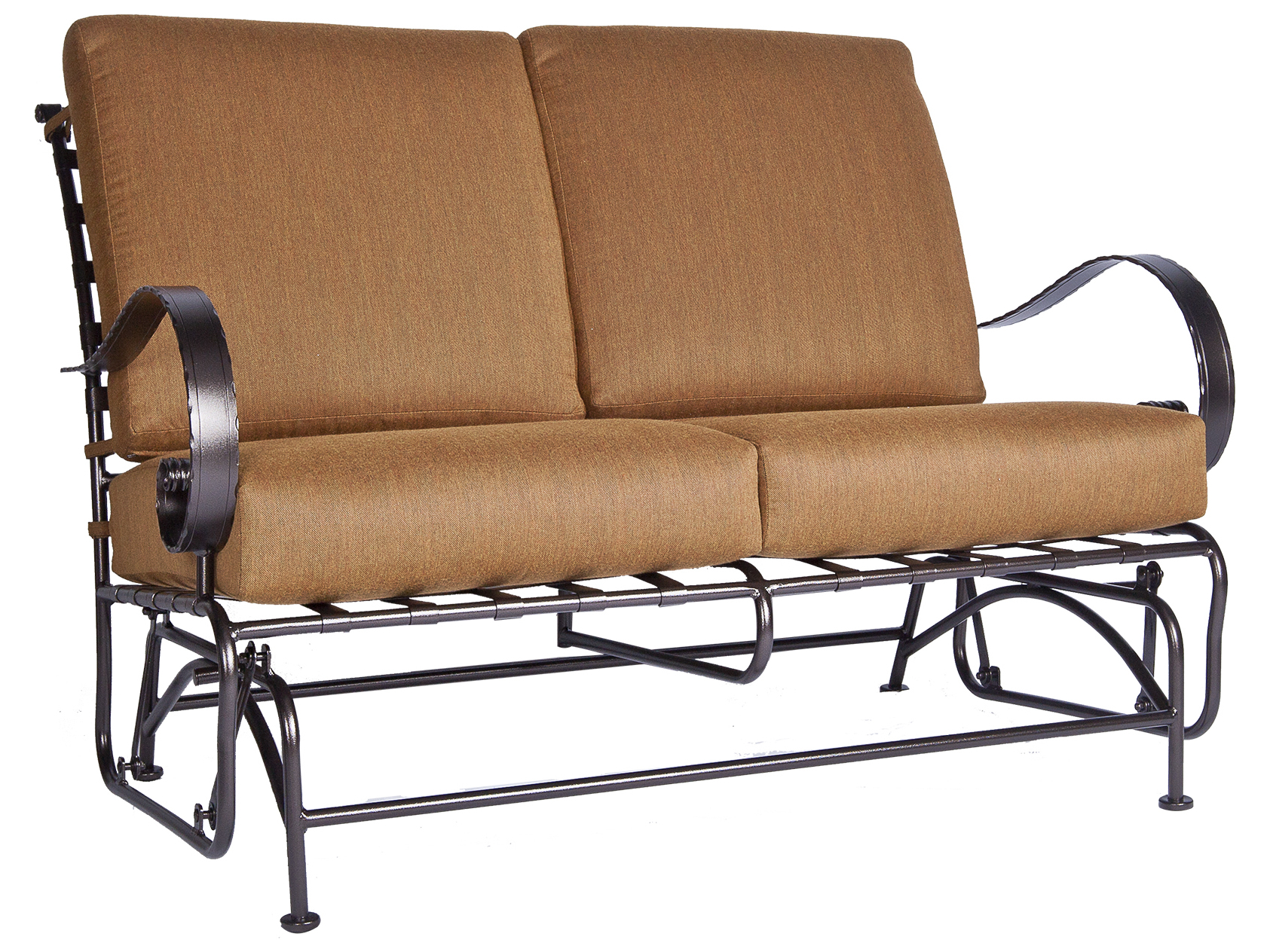 Ow Lee Classico Wide Arms Wrought Iron Love Seat Glider 956 2gw