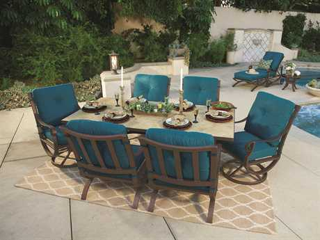 OW Lee Luna Wrought Iron 6 Person Cushion Casual Patio Dining Set