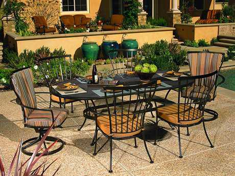 OW Lee Monterra Wrought Iron 6 Person Cushion Casual Patio Dining Set