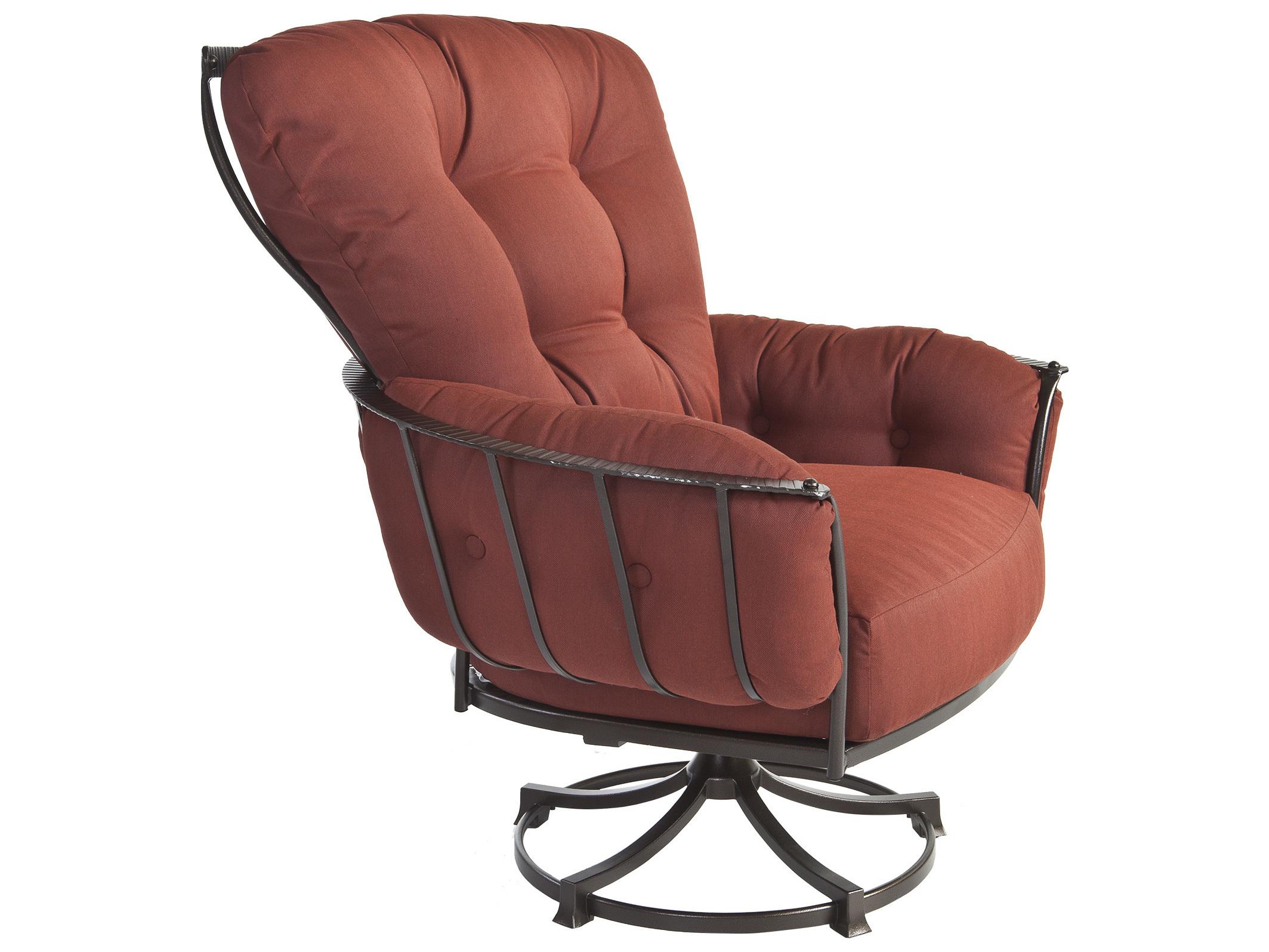 Ow Lee Quick Ship Wrought Iron Swivel Rocker Lounge Chair