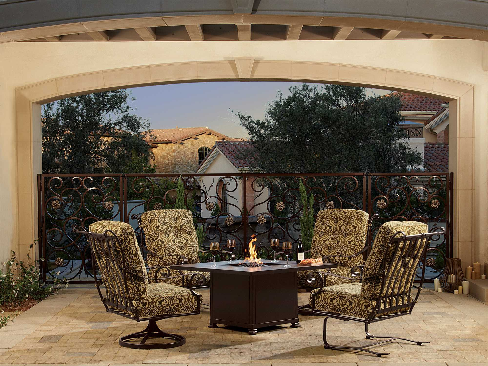 Ow Lee Casual Fireside Santorini Wrought Iron 48 Square