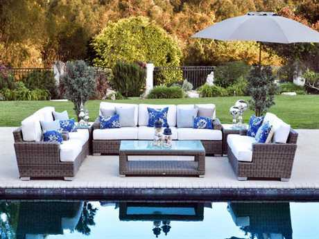 Patio Heaven Palisades Wicker 7 Person Cushion Conversation Patio Lounge Set
