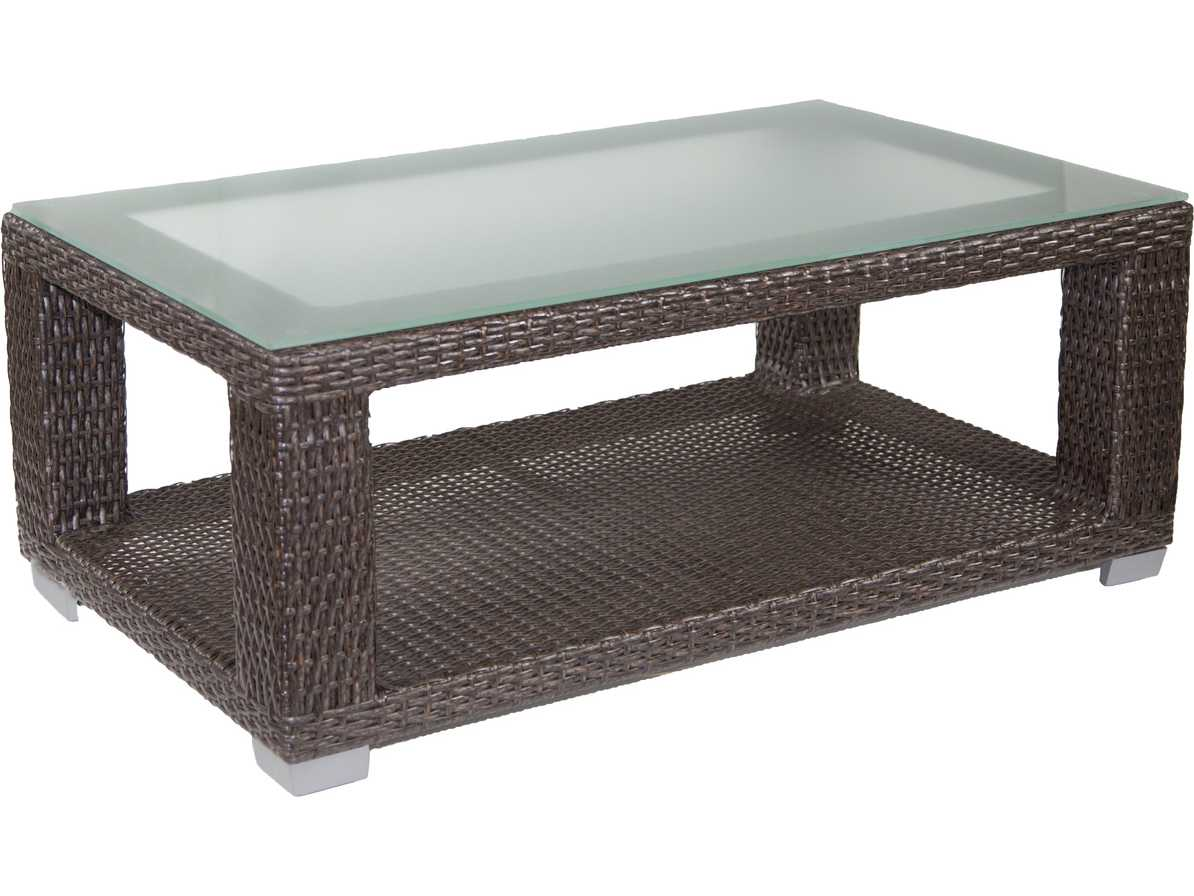 Patio heaven signature palisadeswicker 48 x 28 for Rectangular coffee table with glass top