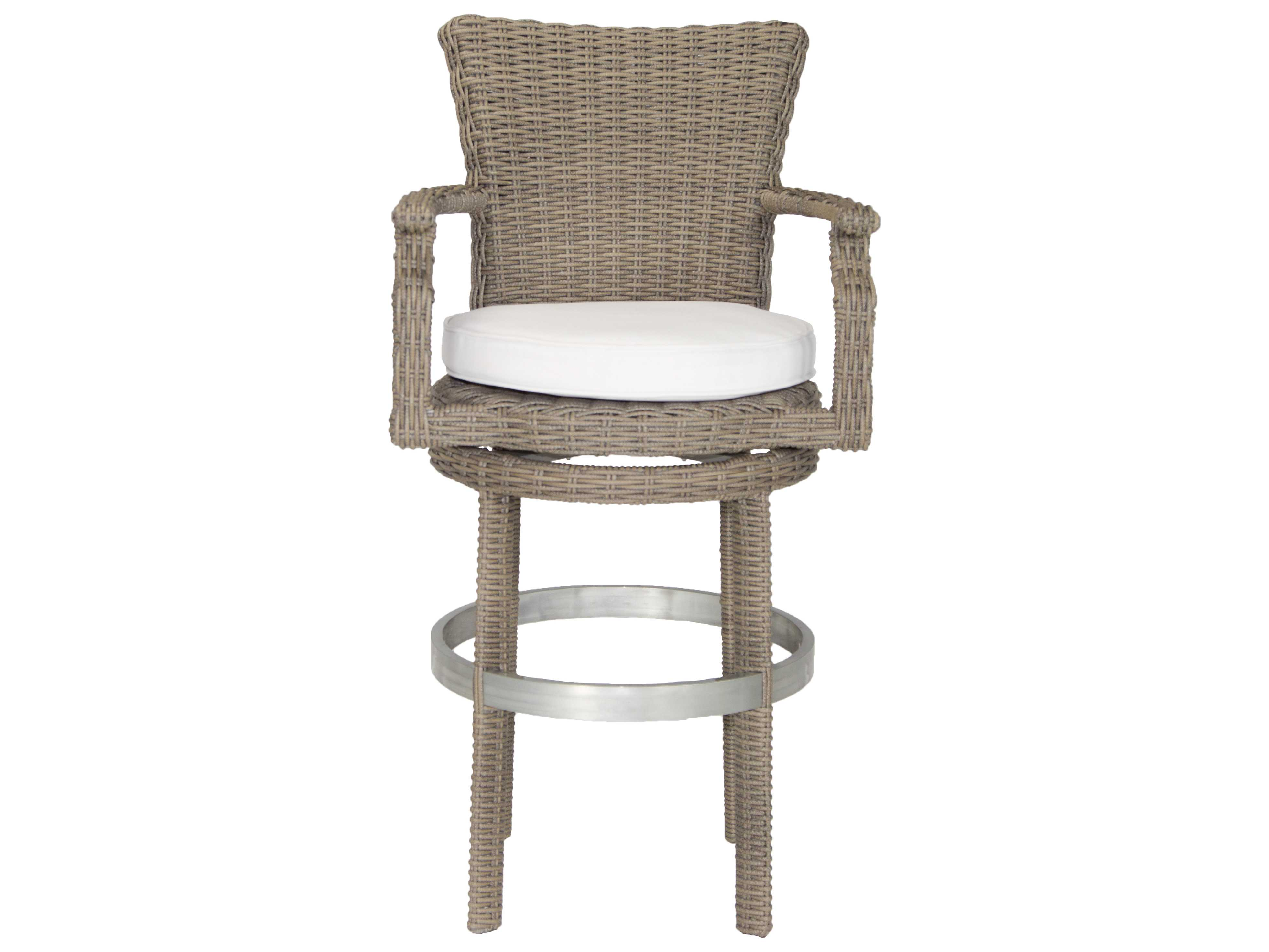 Marvelous photograph of Patio Heaven Palisades Wicker Swivel Bar Stool WP RBSBH GSR with #7A7A51 color and 3923x2943 pixels