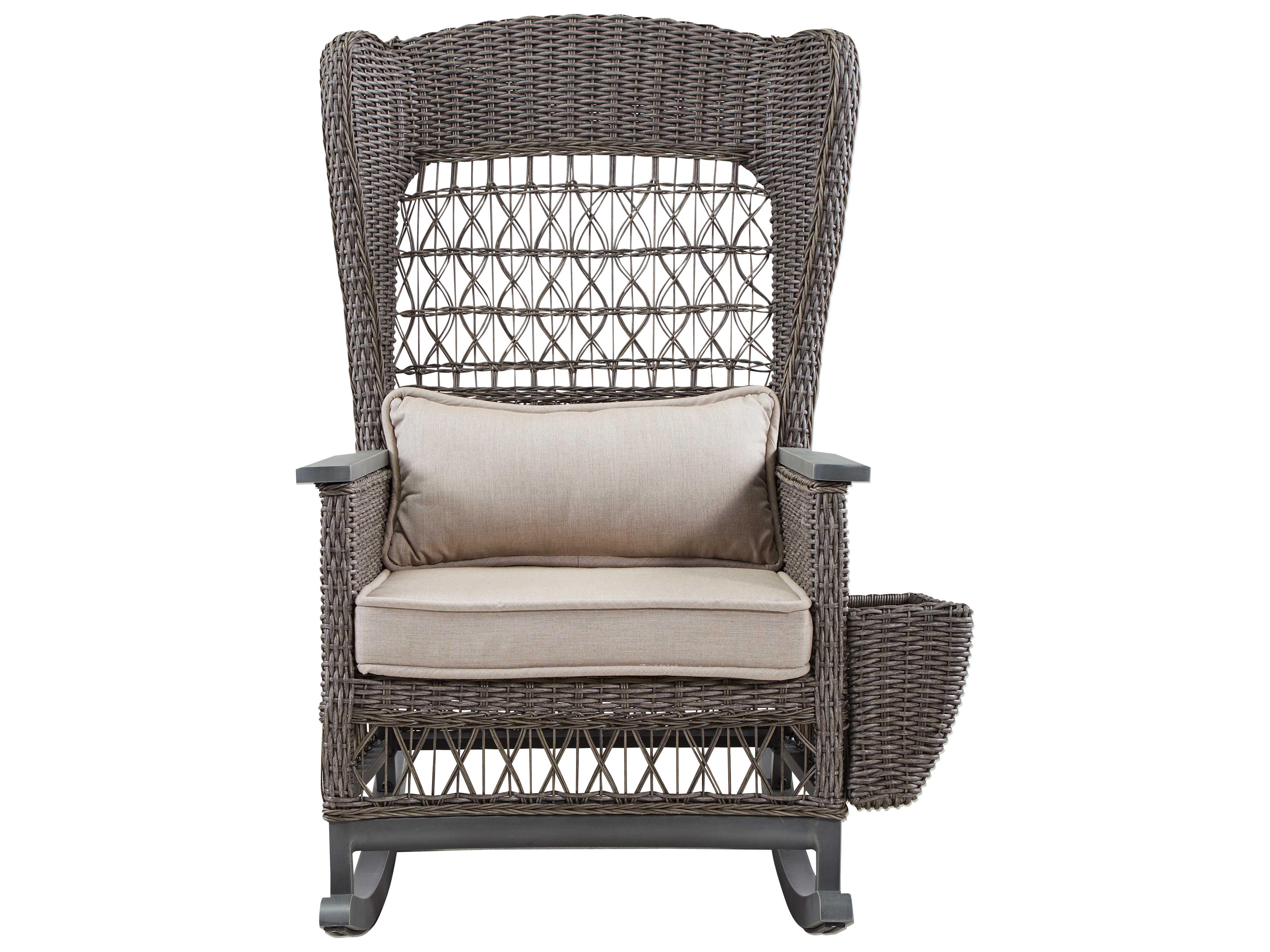 Paula Deen Outdoor Dogwood Wicker Rocker Chair with Lumbar Pillow