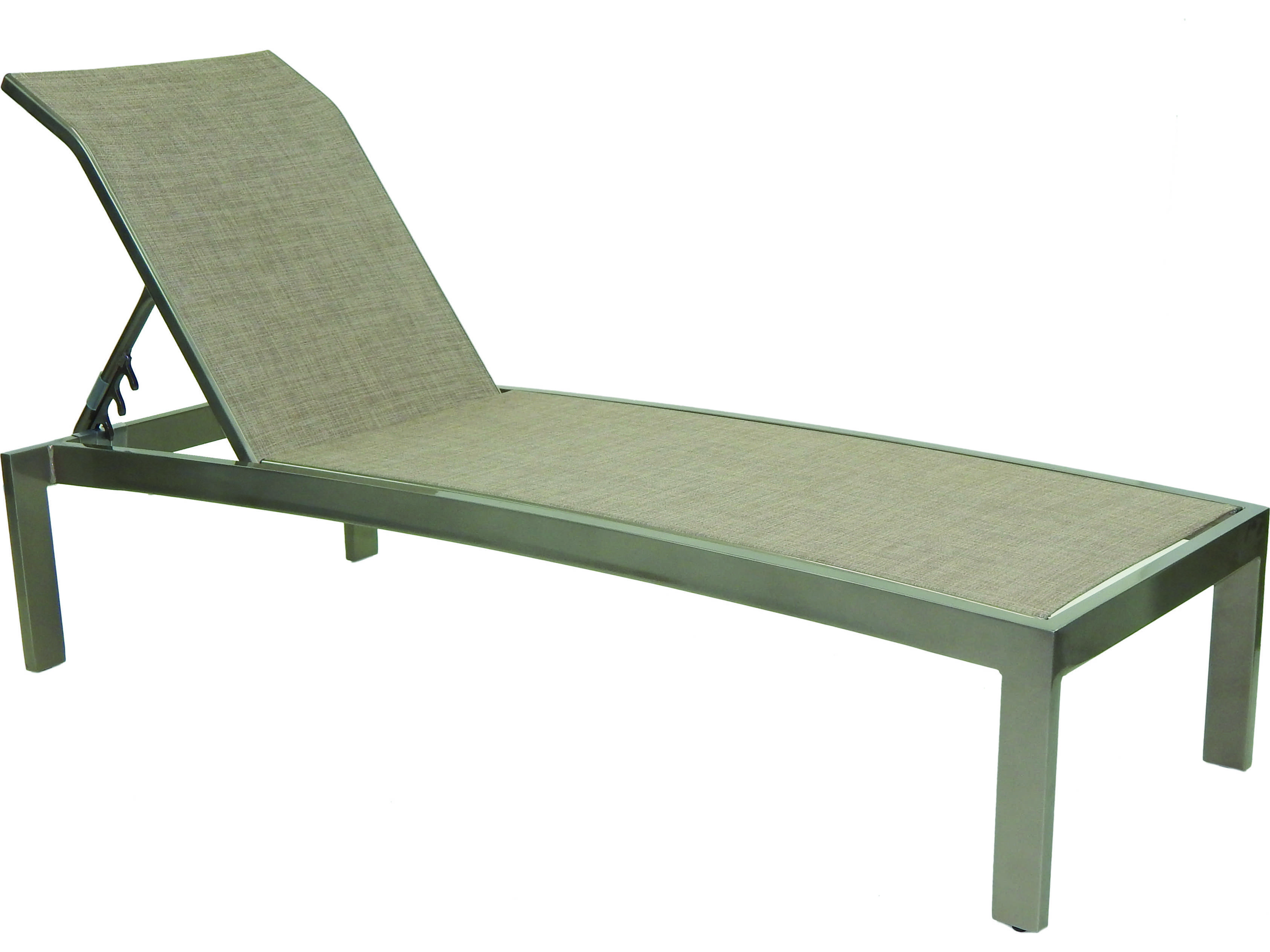 Castelle orion sling cast aluminum adjustable chaise for Cast aluminum chaise lounge