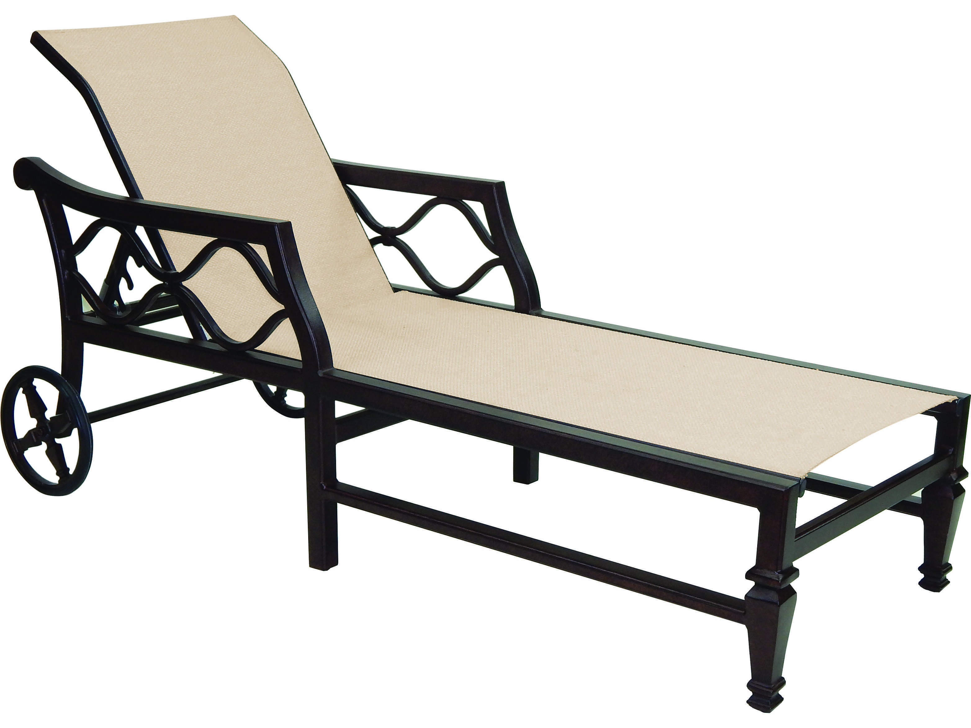 Castelle villa bianca sling cast aluminum adjustable for Aluminum chaise lounge with wheels