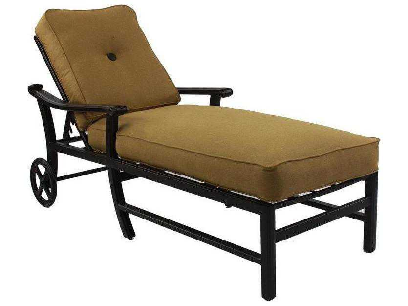 Castelle chateau cushion cast aluminum adjustable chaise for Aluminum chaise lounge with wheels