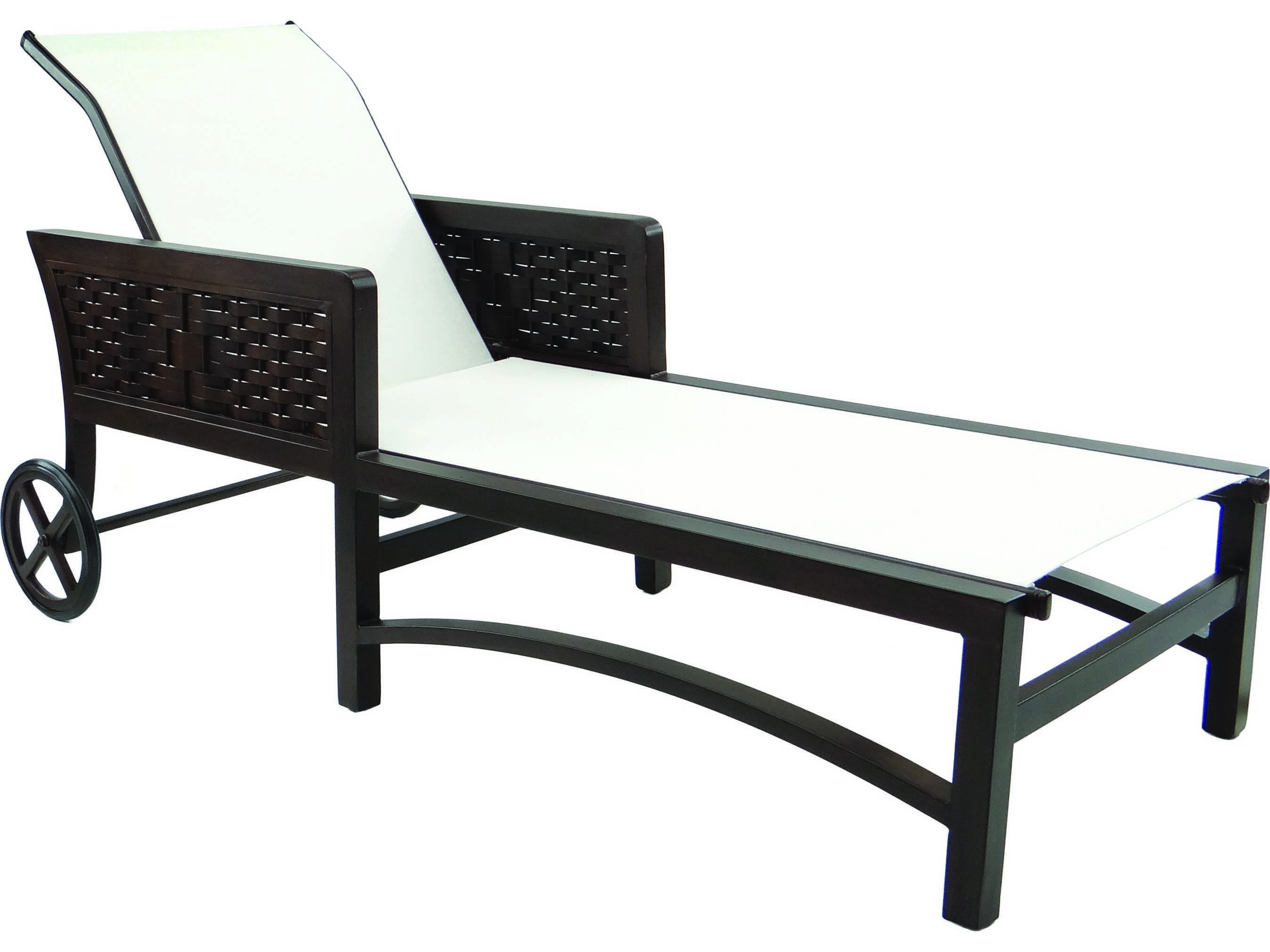 Castelle spanish bay sling aluminum adjustable chaise for Aluminum chaise lounge with wheels