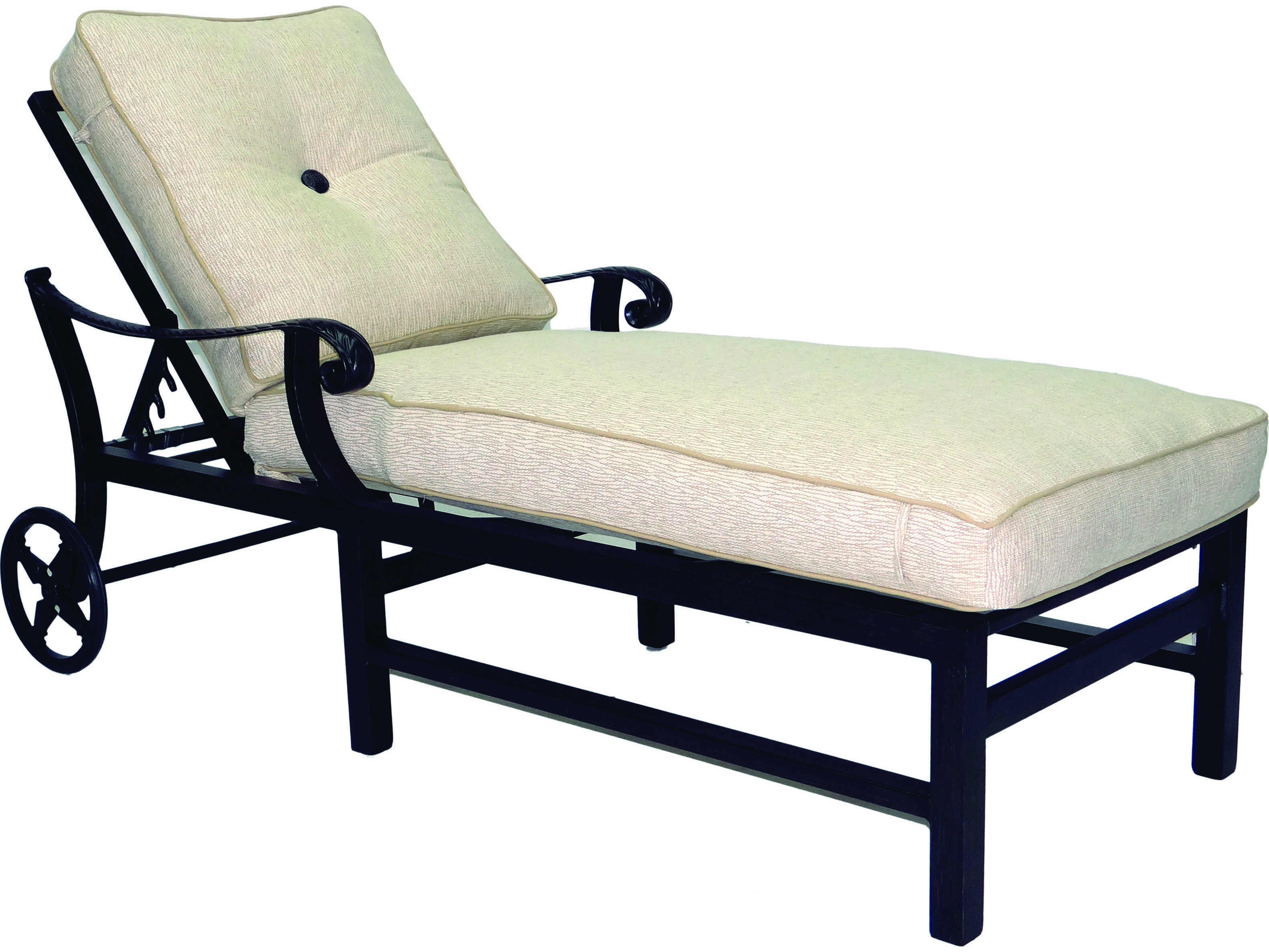 Castelle bellagio cushion cast aluminum chaise lounge with for Aluminum chaise lounge with wheels