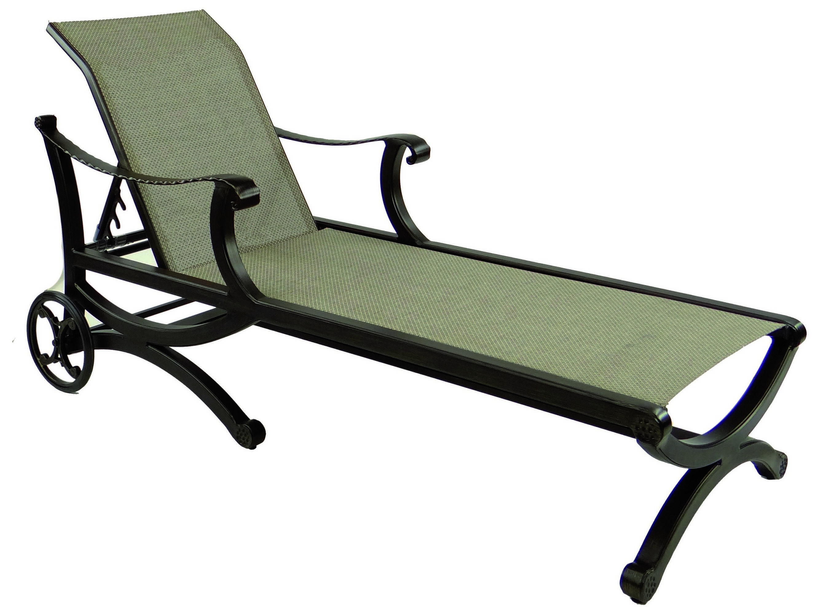Castelle telluride sling cast aluminum adjustable chaise for Aluminum chaise lounge with wheels