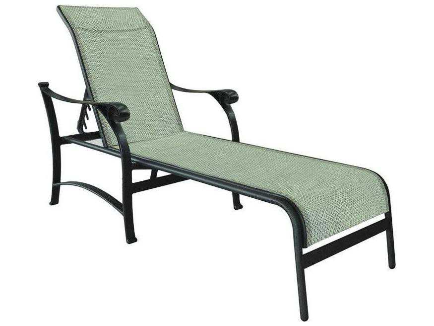 Castelle york sling cast aluminum adjustable chaise lounge for Cast aluminum chaise lounge