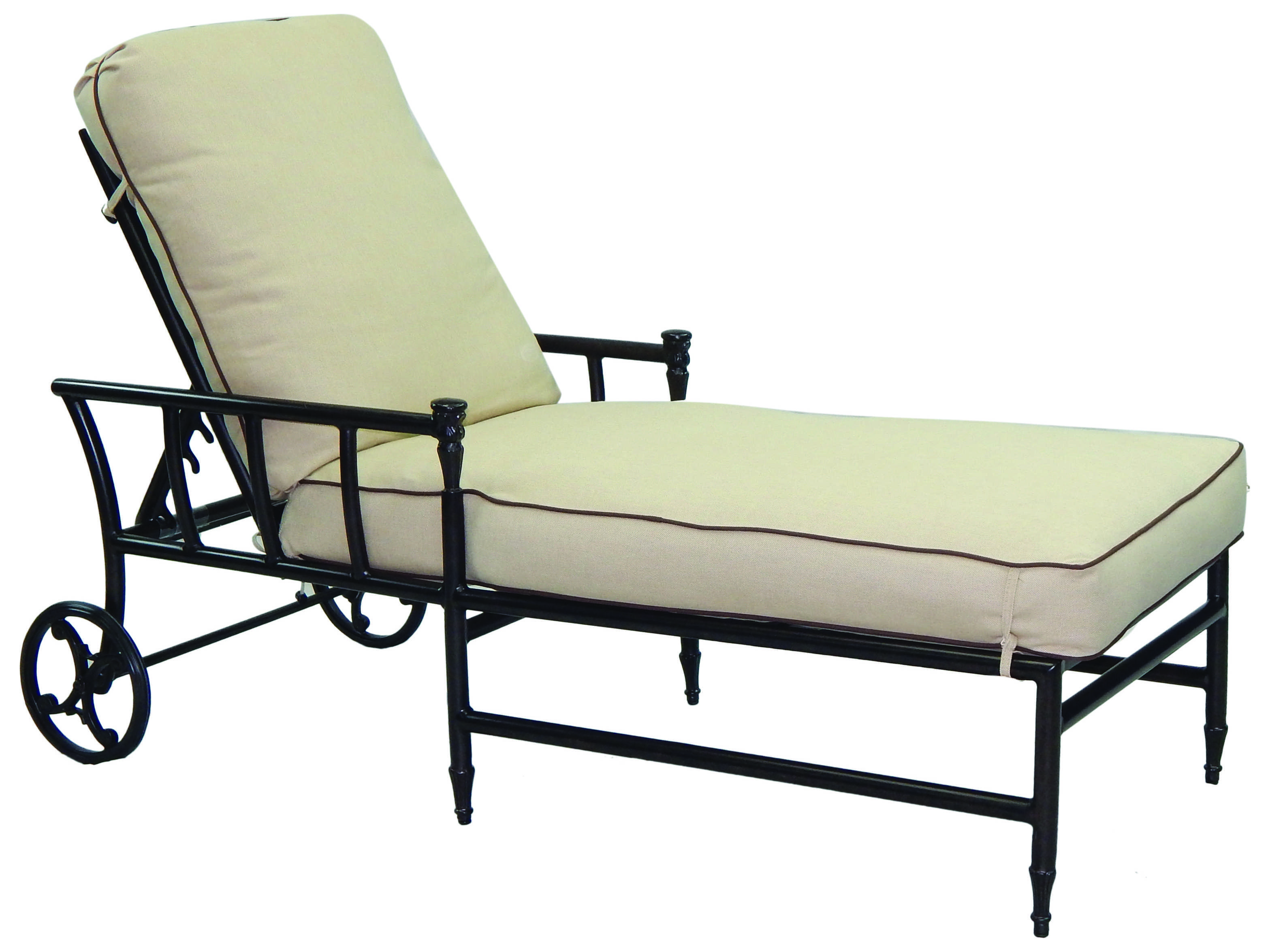 Castelle provence cushion cast aluminum adjustable chaise for Cast aluminum chaise