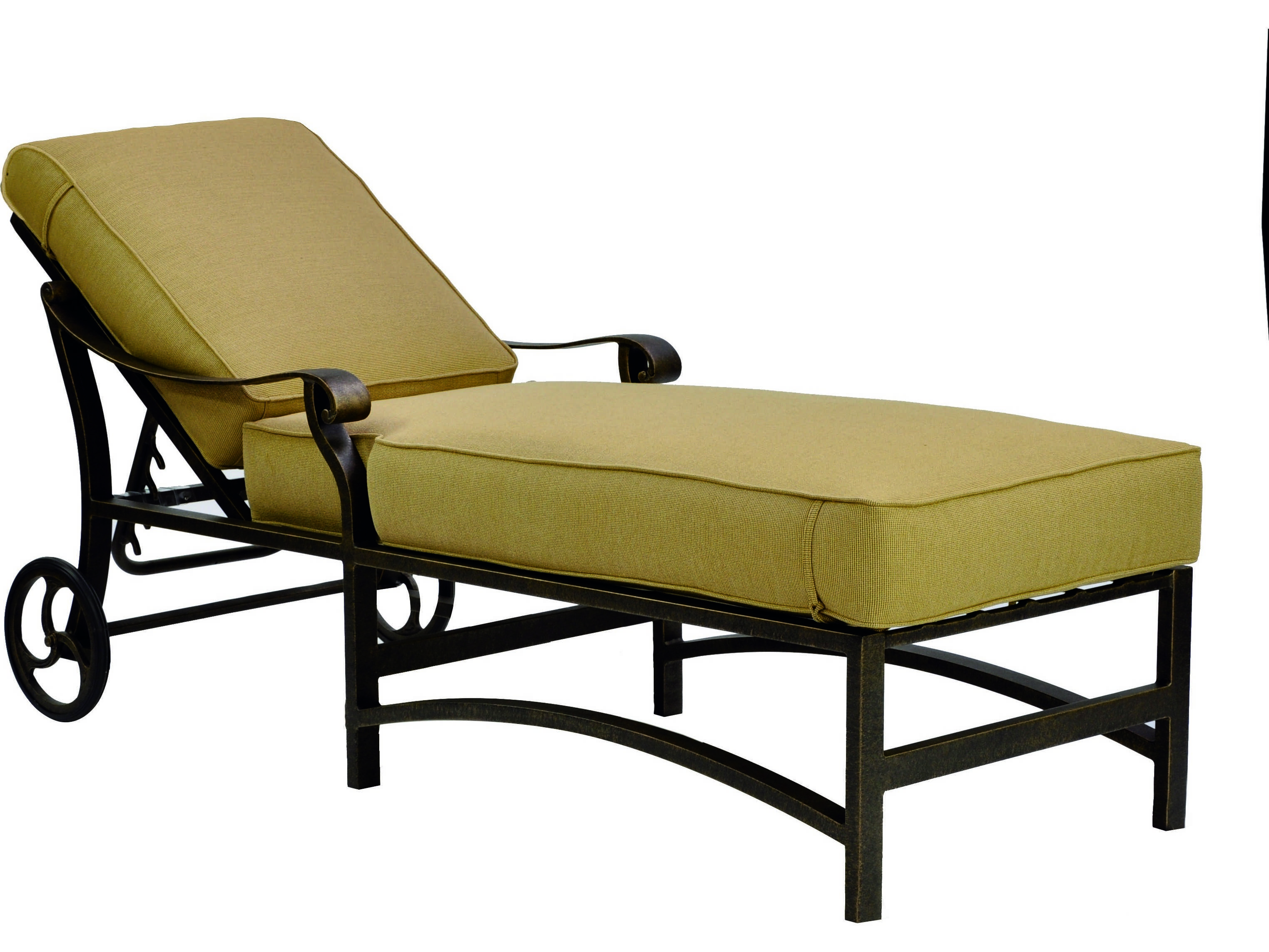 Castelle madrid cushion cast aluminum adjustable chaise for Aluminum chaise lounge with wheels