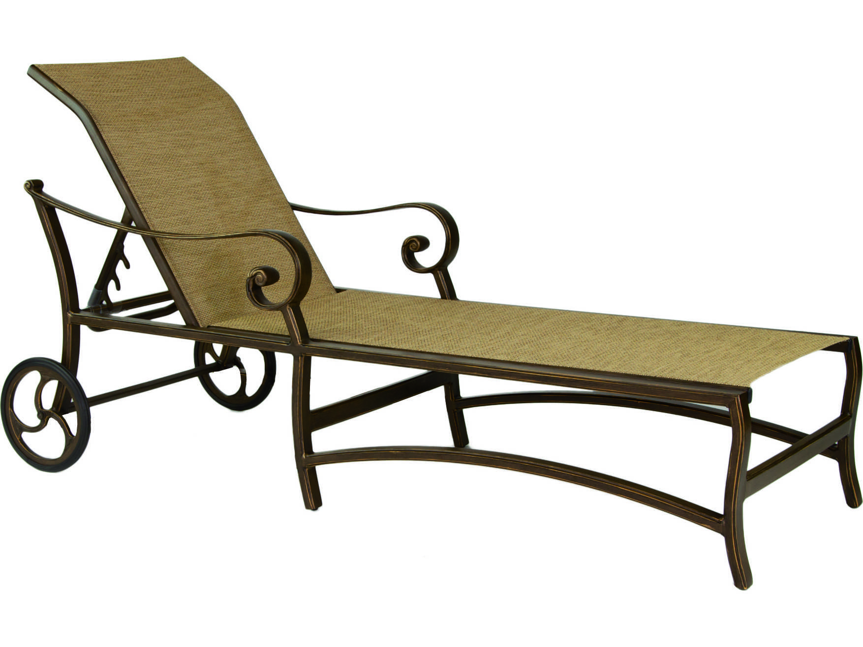 Castelle veracruz sling cast aluminum adjustable chaise for Aluminum chaise lounge with wheels