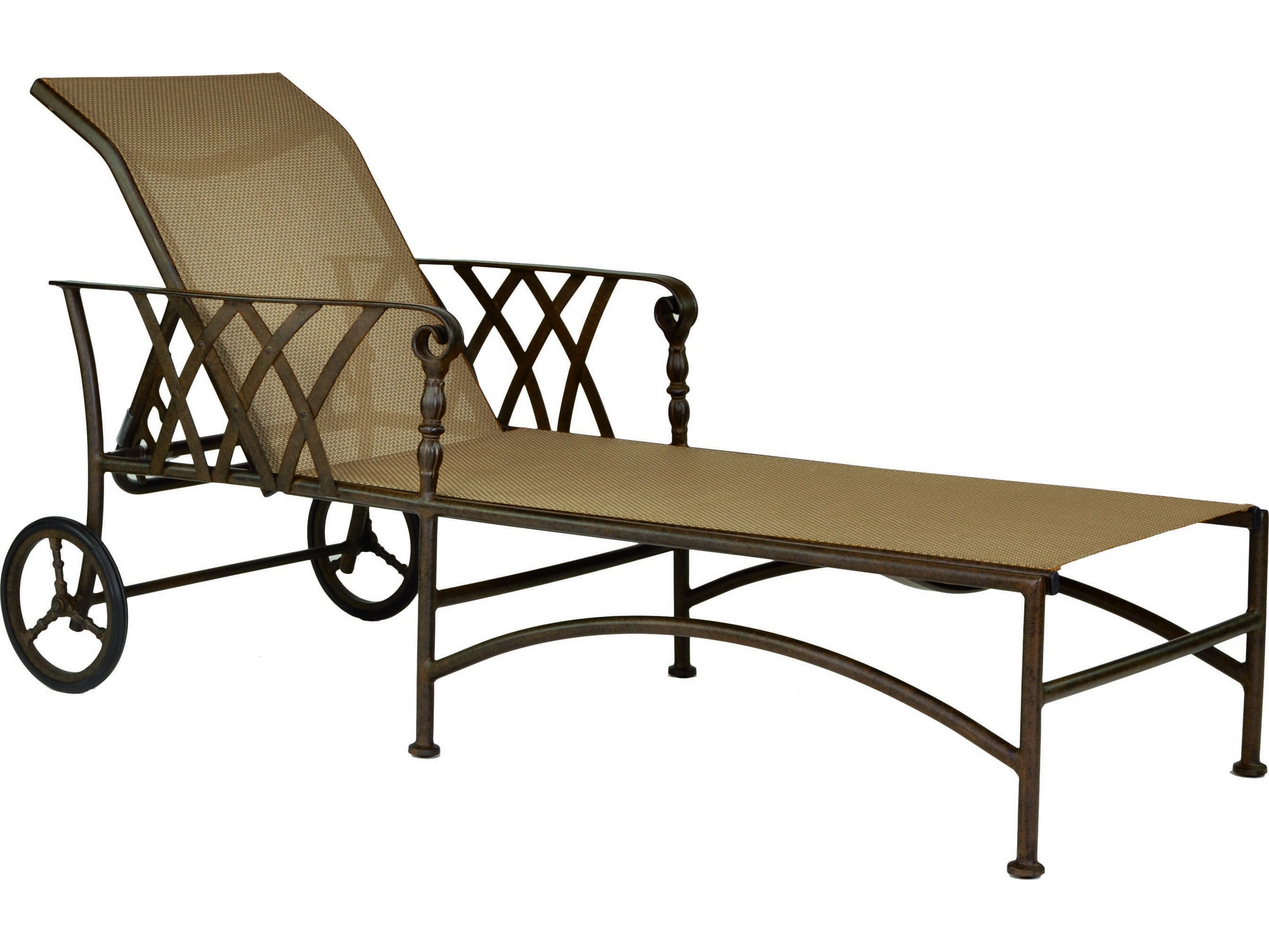 Castelle veranda sling cast aluminum adjustable chaise for Aluminum chaise lounge with wheels