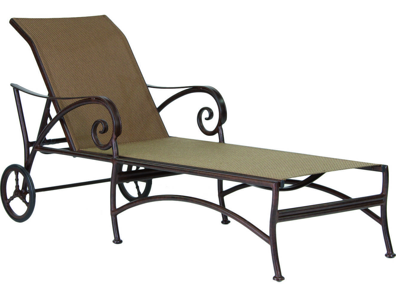 Castelle lucerne sling cast aluminum adjustable chaise for Aluminum chaise lounge with wheels