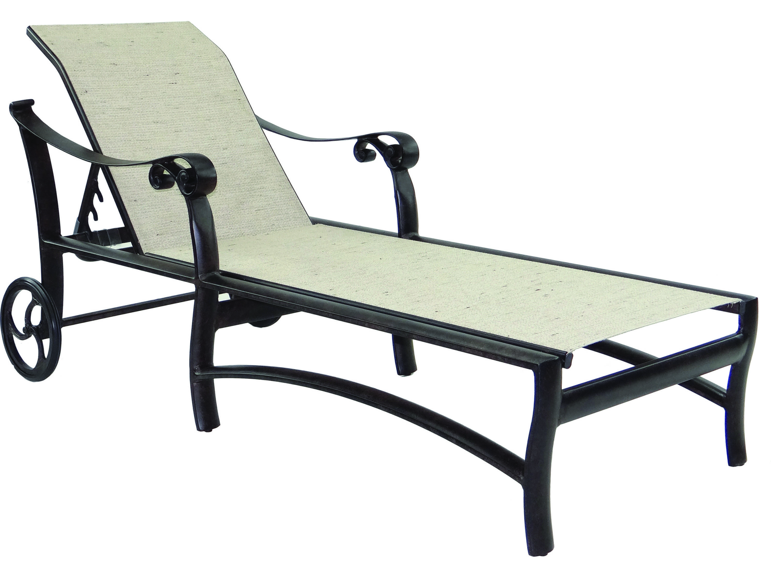 Castelle bellanova sling cast aluminum adjustable chaise for Aluminum chaise lounge with wheels